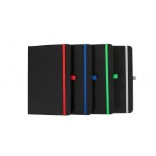 Cuaderno con soporte para bolígrafo, separador de tela y cierre elástico de color A5